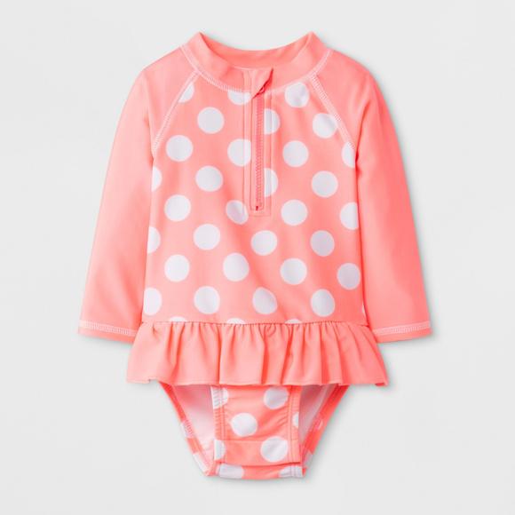 962a3b30e6f Cat & Jack Swim | Baby Girls Floral Polka Dot Half Zip One Piece Sw ...
